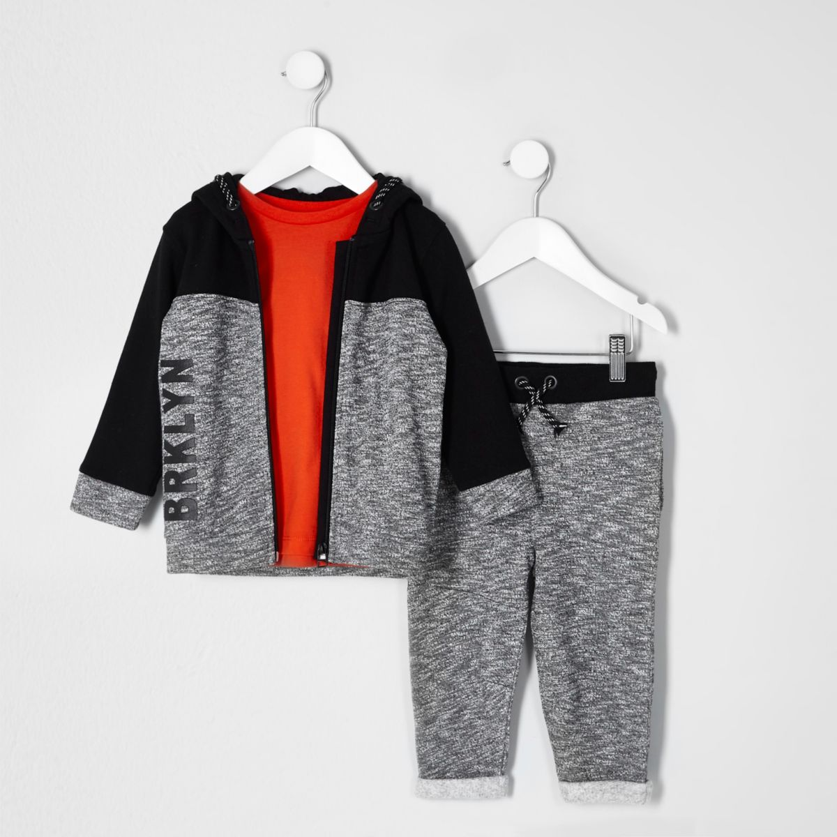 Mini boys grey block tracksuit outfit