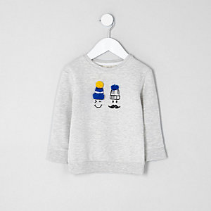Mini boys grey doodle face pom pom sweatshirt