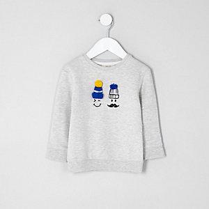 Mini - Grijs sweatshirt met pompon en getekend gezicht voor jongens