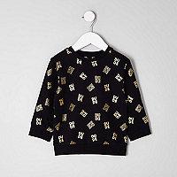 Mini boys black foil 'dude' print sweatshirt