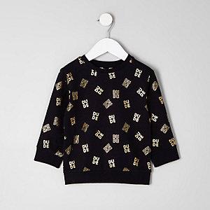 Mini - Zwart sweatshirt met 'dude'-folieprint voor jongens