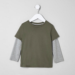 T-Shirt im Lagenlook in Khaki