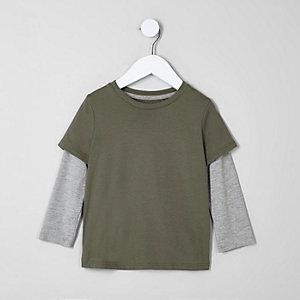 Mini - Kakigroen T-shirt met twee lagen voor jongens