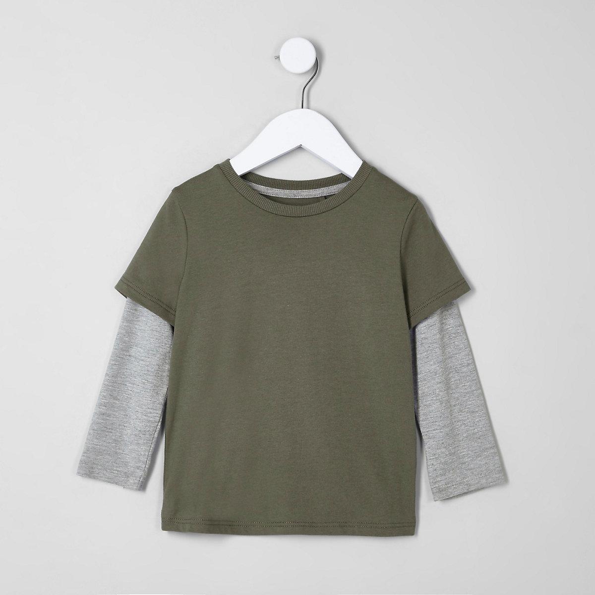 Mini boys khaki green double layer T-shirt