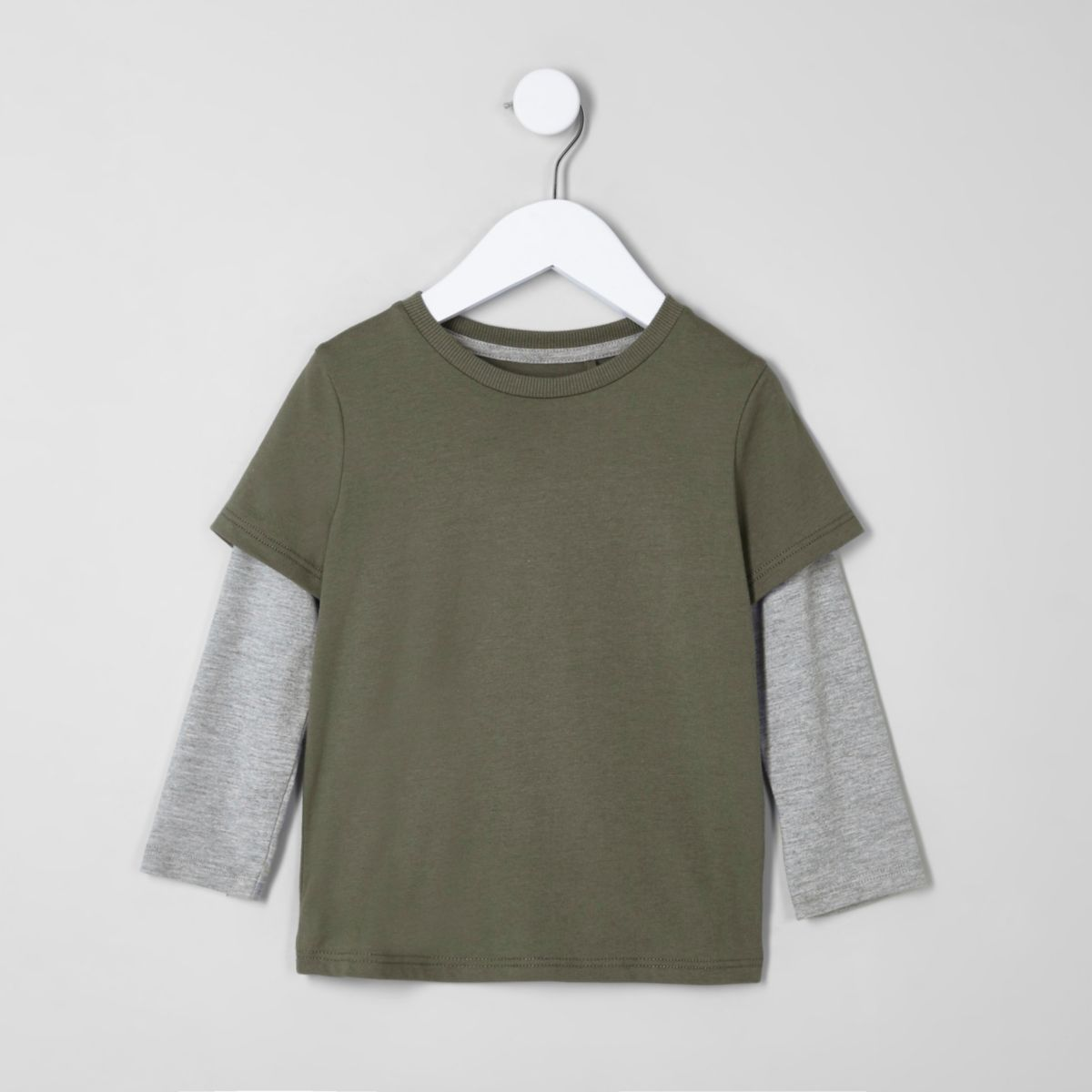 Mini boys khaki green double layer T-shirt