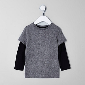 Mini boys black and grey double layer T-shirt