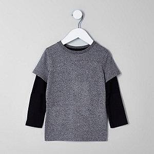 T-shirt double épaisseur noir et gris mini garçon