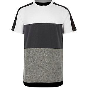 Grau-weißes T-Shirt mit Blockfarben-Design