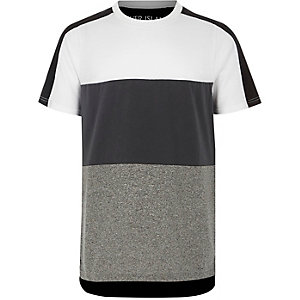 Boys grey and white blocked T-shirt