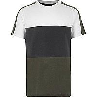 Boys khaki green colour block T-shirt