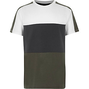 Boys khaki green colour block T-shirt