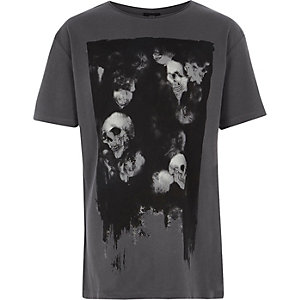 Boys dark grey skull print T-shirt