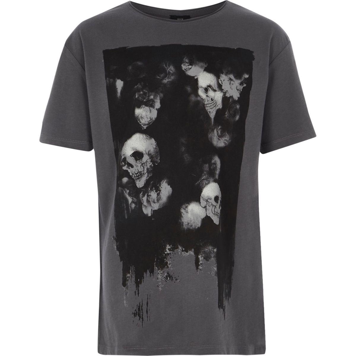 Boys dark grey skull print T-shirt