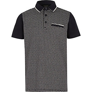 Boys navy textured block polo shirt