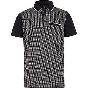 Boys navy textured block polo shirt