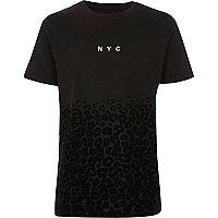 Boys black 'NYC' leopard print flock T-shirt