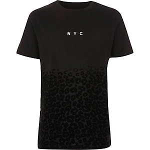 Boys black 'NYC' leopard print flock T-shirt