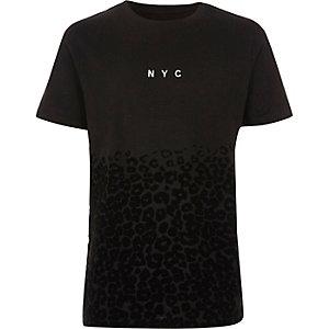 T-shirt noir  à imprimé « NYC » léopard floqué