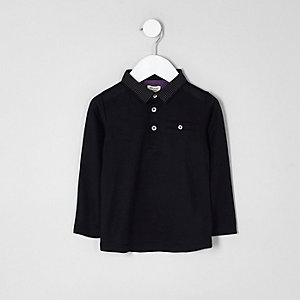 Mini boys black dotty collar polo shirt