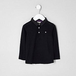 Mini - Zwart poloshirt met gestippelde kraag voor jongens