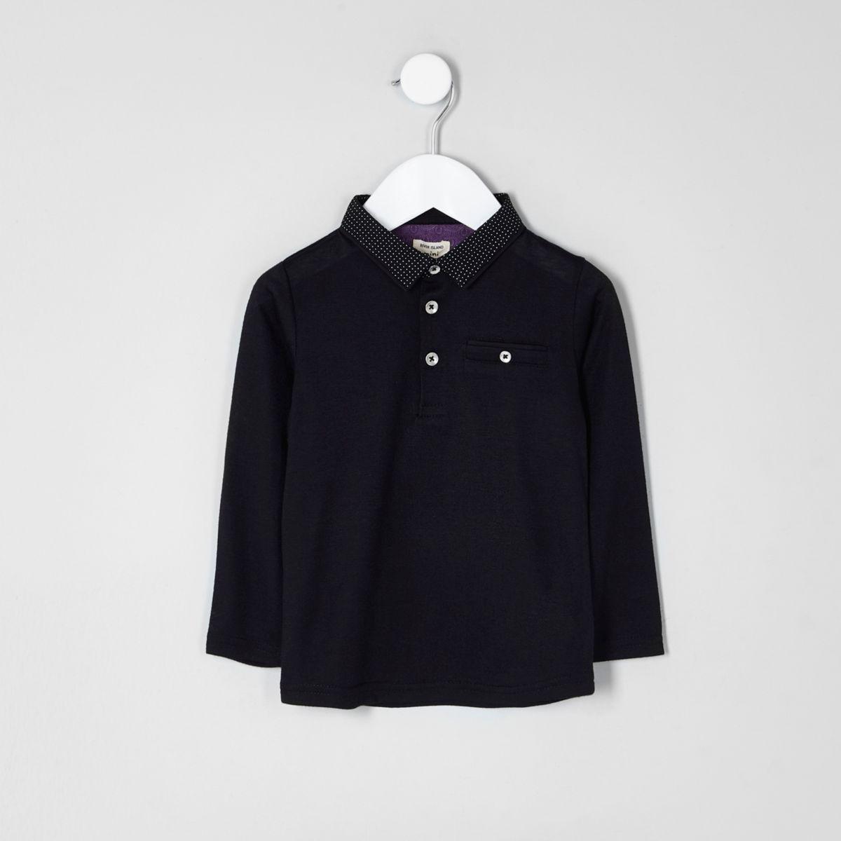 Mini boys black dotty collar polo shirt