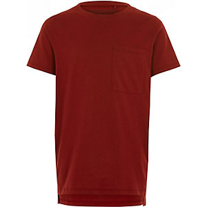 Boys red stepped hem T-shirt