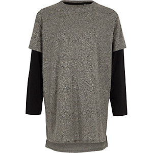 Boys grey double layer long sleeve T-shirt