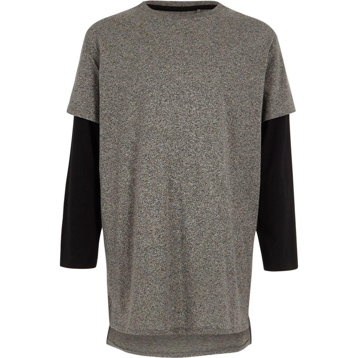 T-shirt gris à superposition et manches longues pour garçon