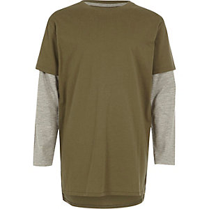 T-shirt double épaisseur kaki pour garçon
