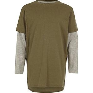 Kaki T-shirt in twee lagen voor jongens