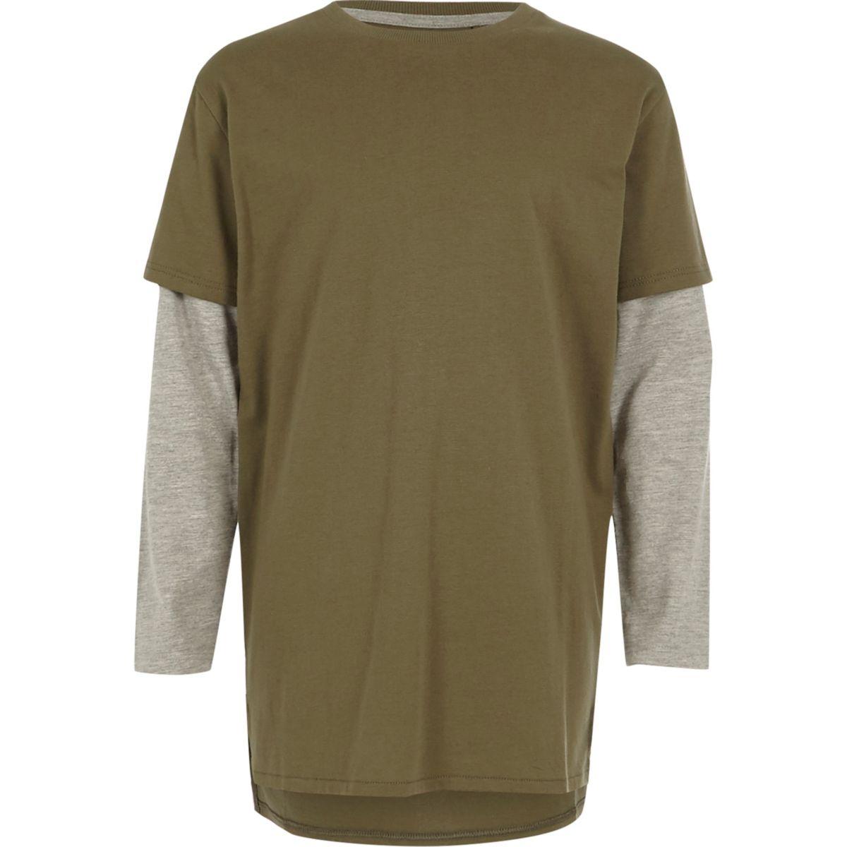 Boys khaki double layer T-shirt