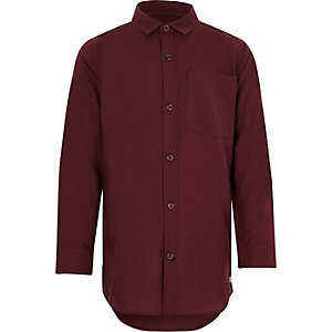 Boys burgundy long sleeve Oxford shirt