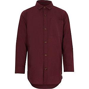 Bordeauxrood Oxford overhemd met lange mouwen voor jongens