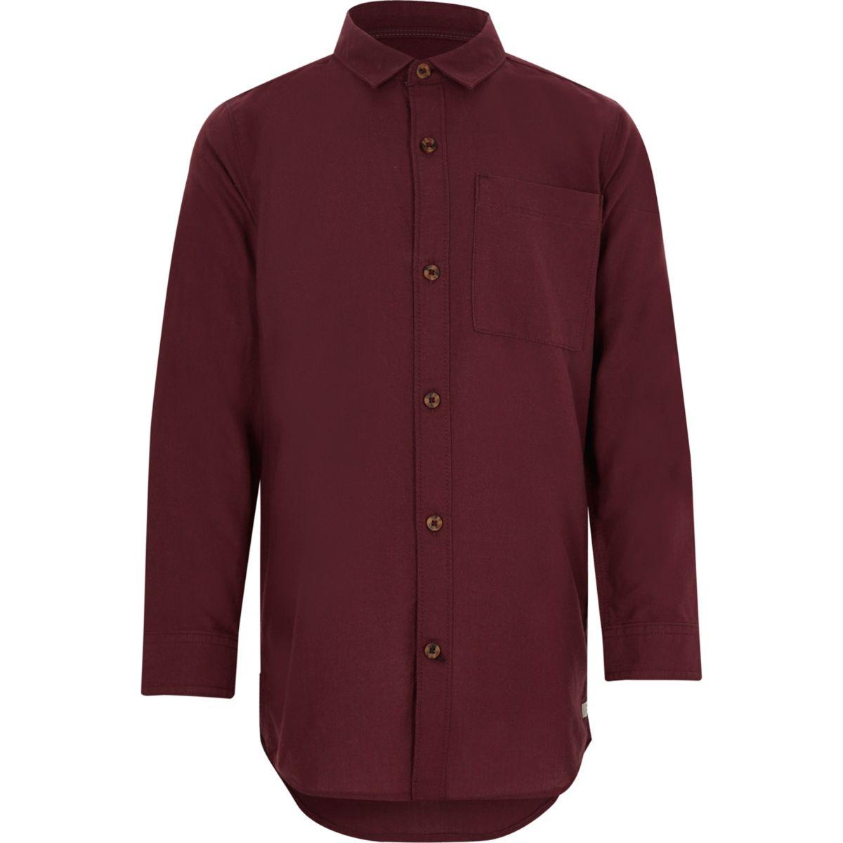 Boys burgundy long sleeve Oxford shirt