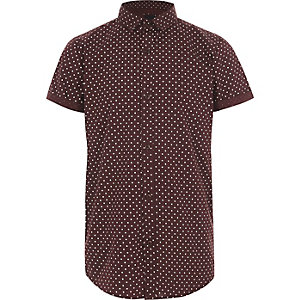 Boys burgundy polka dot short sleeve shirt