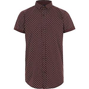 Bordeauxrood overhemd met korte mouwen en stippen voor jongens