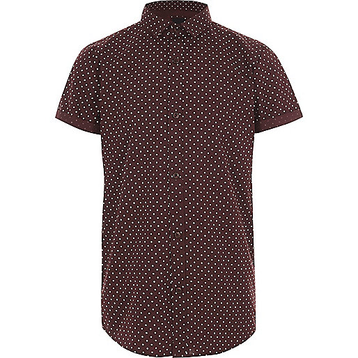 Boys burgundy polka dot short sleeve shirt