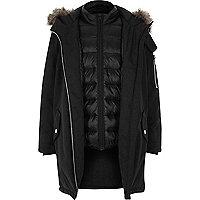 Boys black puffer underlay hybrid parka coat