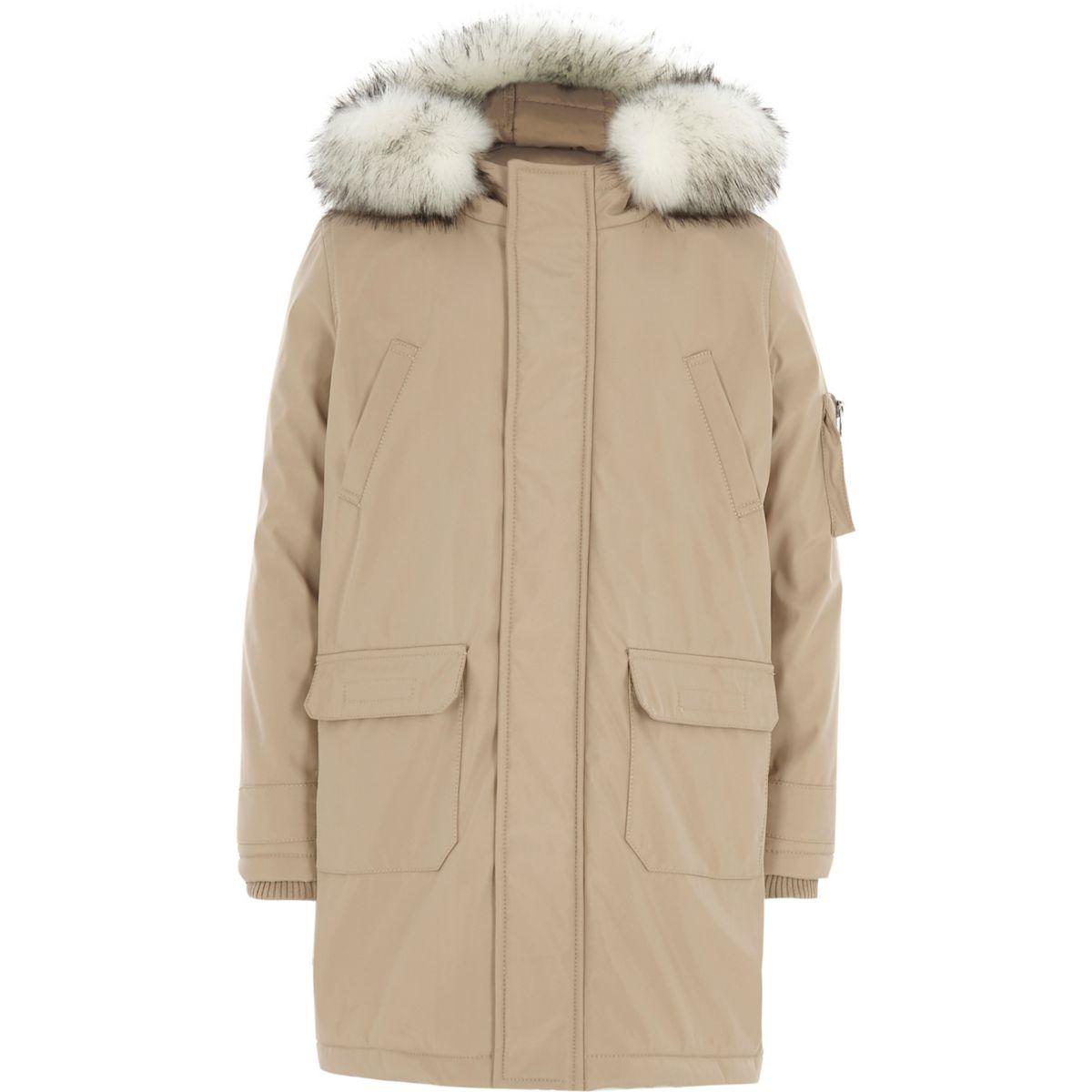 parka gr ge capuche bord e de fausse fourrure pour gar on manteaux manteaux vestes gar on. Black Bedroom Furniture Sets. Home Design Ideas