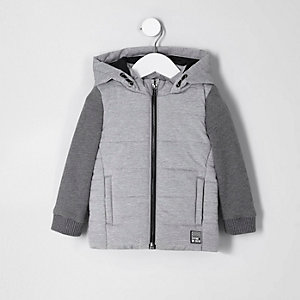 Mini boys grey jersey sleeve gilet jacket