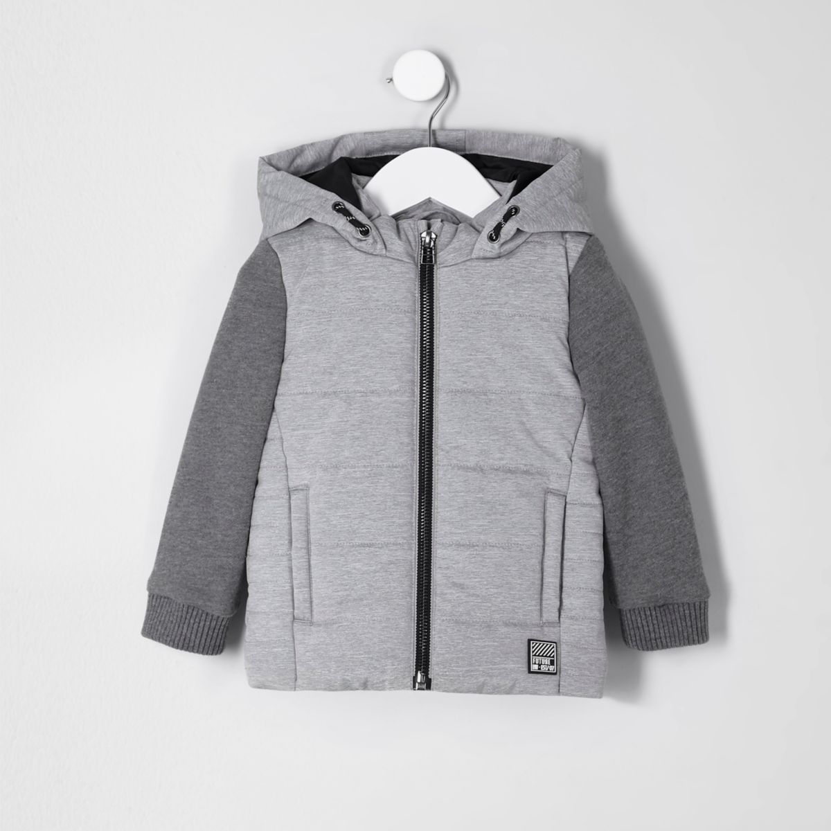 Mini boys grey jersey sleeve vest jacket