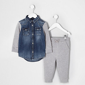 Mini boys grey denim and jersey jacket outfit