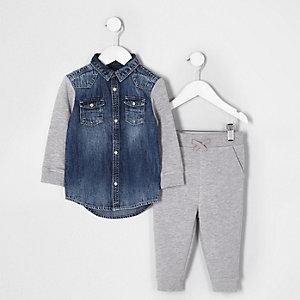 Mini - Outfit met grijs denim en jersey jack voor jongens