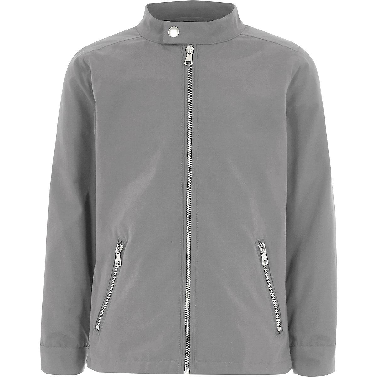 Boys grey racer neck bomber jacket