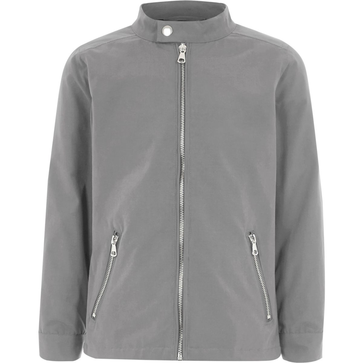 Boys grey racer neck bomber jacket