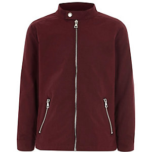 Boys dark red racer neck bomber jacket