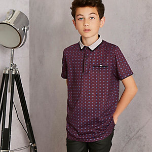 Boys purple RI Studio geo polo shirt