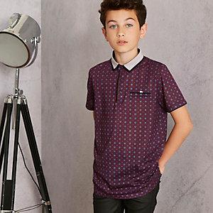 Boys purple RI Studio geo polo shirt