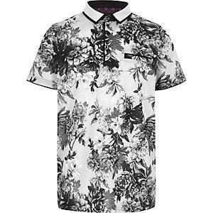 Boys mono floral print polo shirt