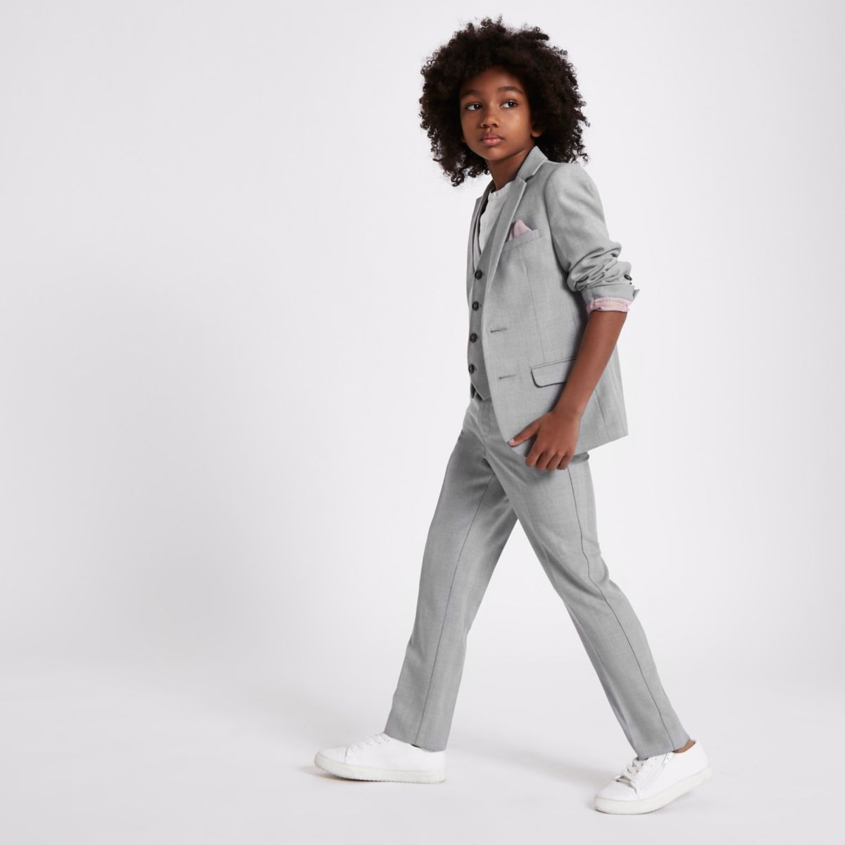 Boys grey check suit blazer